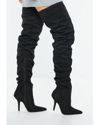 Missguided - Black Slouchy Over The Knee Boots - Lyst