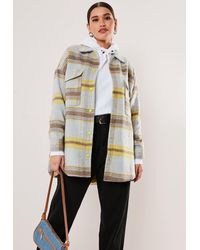 Missguided Blue Check Print Oversized Shacket