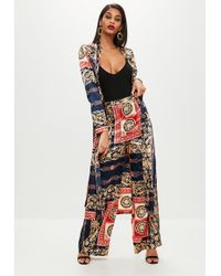 Missguided - Navy Printed Wide Leg Pants - Lyst