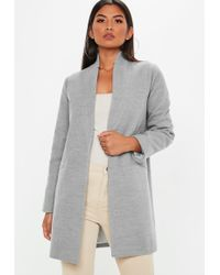 Missguided - Grey Inverted Collar Formal Coat - Lyst