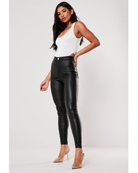 Missguided High Waisted Coated Skinny Jeans - Black