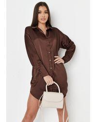 Missguided Satin Oversized Shirt Dress - Brown