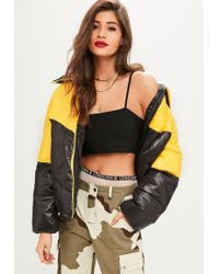 Missguided - Tall Yellow Block Padded Jacket - Lyst