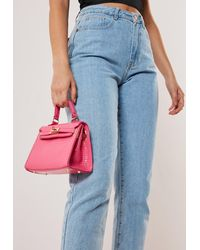 Missguided Stassie X Pink Croc Effect Mini Handbag