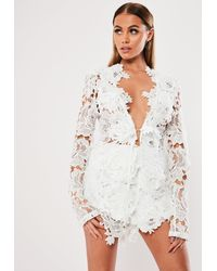 Missguided White Co Ord Crochet Lace Tailored Jacket