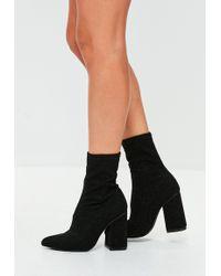 Missguided - Black Pointed Glitter Block Heels - Lyst
