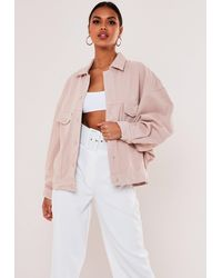 Missguided 80s Batwing Oversized Denim Jacket - Pink