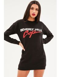 Missguided - Black Beverly Hills Jumper Dress - Lyst