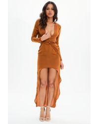 Missguided - Rust Satin Asymmetric Twist Front Maxi Dress - Lyst
