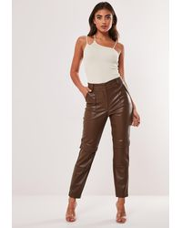 Missguided Chocolate Faux Leather Cargo Cigarette Pants - Brown