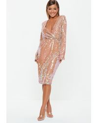 Missguided Blush Sequin Fluted Sleeve Wrap Over Midi Dress - Pink