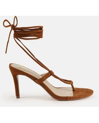 Missguided Faux Suede Tie Up Mid Heel Sandals - Brown