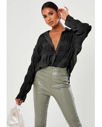 Missguided Sheer Crinkle Extreme Oversized Shirt - Black