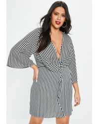 Missguided - Plus Size Black Stripe Wrap Front Dress - Lyst