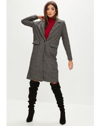 Missguided - Grey Longline Checked Coat - Lyst