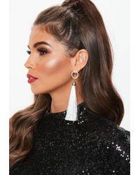 Missguided - Silver Look Diamante Round Top Tassel Earrings - Lyst