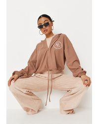 Missguided - Mocha Waffle Cropped Hoodie - Lyst