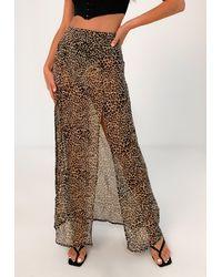 Missguided Leopard Print Maxi Skirt - Brown