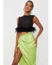 Missguided Feather Trim Sleeveless Vest Top - Black