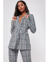 Missguided Brown Co Ord Plaid Print Belted Blazer