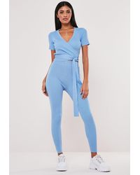 Missguided Blue Co Ord Knit Rib Super High Waisted Leggings