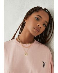 Missguided X Gold Look Layered Pendant Necklace - Metallic