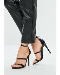 Missguided - Black Three Strap Heels - Lyst