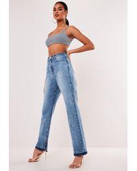 Missguided Blue Wrath Highwaisted Split Hem Jeans