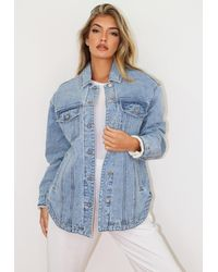 Missguided Blue Borg Teddy Lined Oversized Longline Denim Jacket