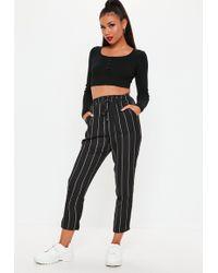 Missguided - Black Stripe Tie Waist Lightweight Trousers - Lyst