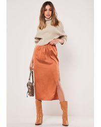 Missguided Rust Satin Split Side Midi Skirt - Orange