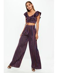 Missguided - Burgundy Striped Wide Leg Pants - Lyst