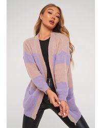 Missguided Lilac Oversized Colourblock Cardigan - Purple
