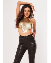 Missguided Gold Look Chain Mail Top - Metallic