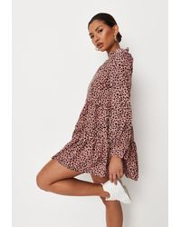 Missguided Petite Pink Leopard Print Frill Tiered Smock Dress