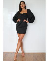 Missguided Low Back Puff Sleeve Mini Dress - Black