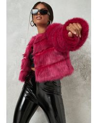 Missguided Pink Faux Fur Pelted Cropped Jacket