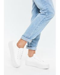 Missguided - White Canvas Flatform Trainers - Lyst