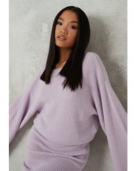 Missguided Lilac Co Ord Knit Flared Sleeve Jumper - Purple
