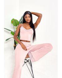 Missguided Blush Lace Trim Cami Pyjama Set - Pink