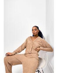 Missguided Camel Towel Texture 3 Piece Loungewear Set - Natural