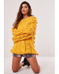 Missguided Premium Mustard Bobble Cable Knit Jumper - Yellow