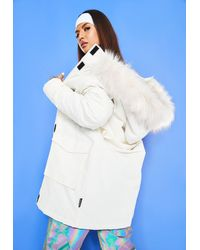 Missguided Msgd Ski Faux Fur Padded Parker Coat - White