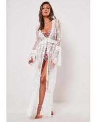 Missguided White Lace Layered Maxi Beach Kimono