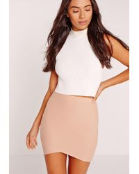 Missguided - Petite Asymmetric Bandage Mini Skirt Nude - Lyst