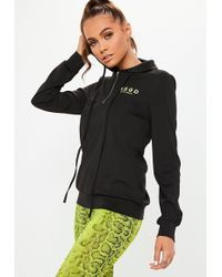 Missguided Active Black Long Sleeve Msgd Hooded Top