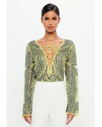 Missguided - Peace + Love Green Embellished Stud Lace Up Bodysuit - Lyst