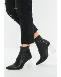 Missguided - Black Clear Heeled Pointed Sock Heeled Boots - Lyst