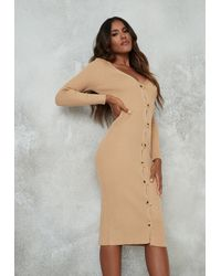Missguided Camel Rib Long Line Cardigan - Natural