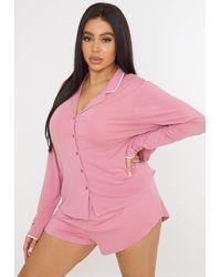 Missguided Plus Size weiches Schlafanzug-Set aus Hemd und Shorts - Pink